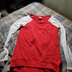 VS PINK red and white long sleeve shirt